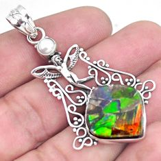 15.33cts natural multi color ammolite silver angel wings fairy pendant p47770