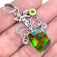 14.41cts natural multi color ammolite silver angel wings fairy pendant p47777