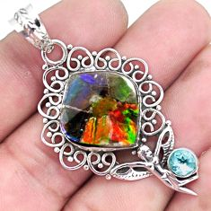 16.13cts natural multi color ammolite silver angel wings fairy pendant p47780
