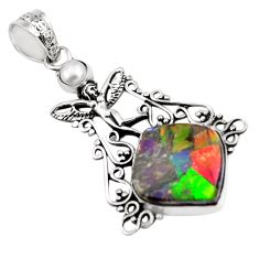 15.33cts natural multi color ammolite silver angel wings fairy pendant p47807