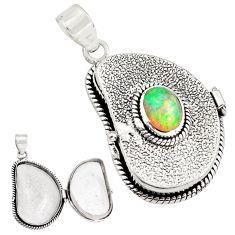 4.09cts natural multi color ethiopian opal 925 silver poison box pendant p79888