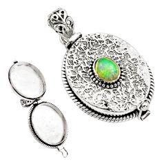 2.25cts natural multi color ethiopian opal 925 silver poison box pendant p79981