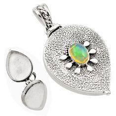 2.42cts natural multi color ethiopian opal 925 silver poison box pendant p80008