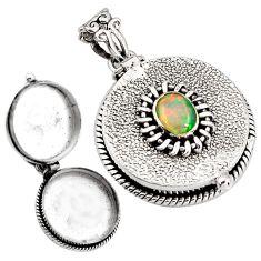 2.25cts natural multi color ethiopian opal 925 silver poison box pendant p92841