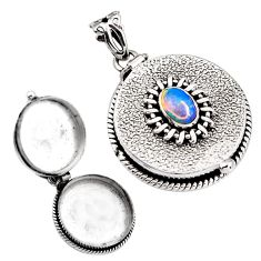 2.21cts natural multi color ethiopian opal 925 silver poison box pendant p92842