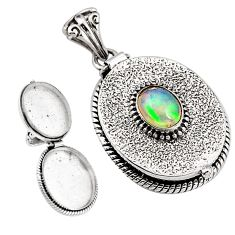 3.31cts natural multi color ethiopian opal 925 silver poison box pendant p92843
