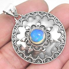 3.13cts natural multi color ethiopian opal 925 sterling silver pendant p33385