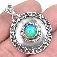 3.42cts natural multi color ethiopian opal 925 sterling silver pendant p33397