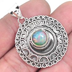 3.31cts natural multi color ethiopian opal 925 sterling silver pendant p33400