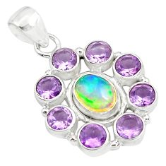 10.33cts natural multi color ethiopian opal amethyst 925 silver pendant p78014