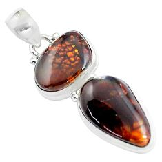 Clearance Sale- 16.73cts natural multi color mexican fire agate 925 silver pendant d31897