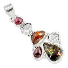 14.23cts natural multi color mexican fire agate 925 silver pendant d31905