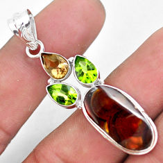 12.52cts natural multi color mexican fire agate 925 silver pendant p53985