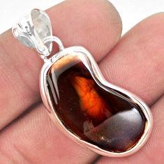 16.85cts natural multi color mexican fire agate 925 silver pendant p54023