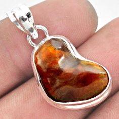 13.15cts natural multi color mexican fire agate 925 silver pendant p54058