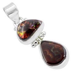12.36cts natural multi color mexican fire agate 925 silver pendant p59396