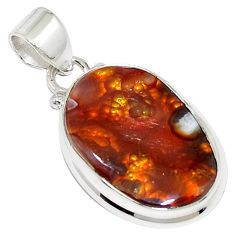 15.65cts natural multi color mexican fire agate 925 silver pendant p76370
