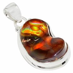 19.99cts natural multi color mexican fire agate 925 silver pendant p76380