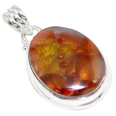 19.07cts natural multi color mexican fire agate 925 silver pendant p76389