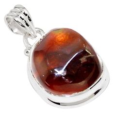 19.23cts natural multi color mexican fire agate 925 silver pendant p76403