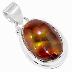 15.08cts natural multi color mexican fire agate 925 silver pendant p76405