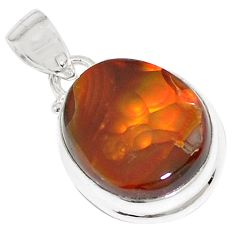 15.39cts natural multi color mexican fire agate 925 silver pendant p76407