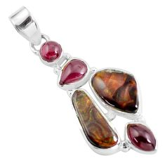 13.77cts natural multi color mexican fire agate garnet 925 silver pendant d31902