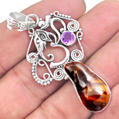 16.93cts natural multi color mexican fire agate silver elephant pendant p53978