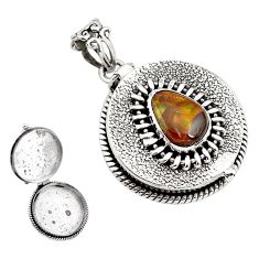 4.29cts natural multi color mexican fire agate silver poison box pendant p79882