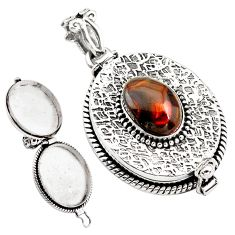 5.84cts natural multi color mexican fire agate silver poison box pendant p79899