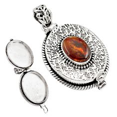 4.68cts natural multi color mexican fire agate silver poison box pendant p79900