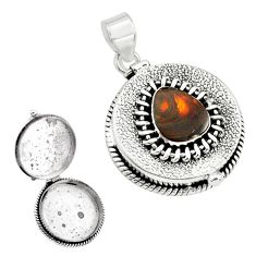 4.81cts natural multi color mexican fire agate silver poison box pendant p79983
