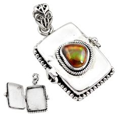 3.59cts natural multi color mexican fire agate silver poison box pendant p80014