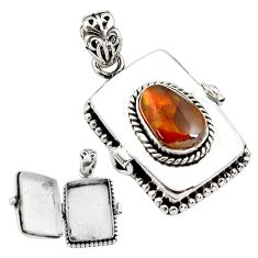 5.24cts natural multi color mexican fire agate silver poison box pendant p80015