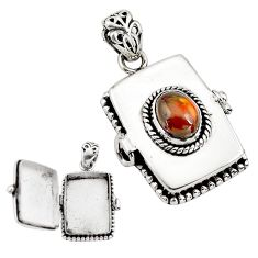 3.49cts natural multi color mexican fire agate silver poison box pendant p80017