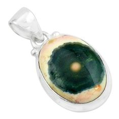 11.12cts natural multi color ocean sea jasper (madagascar) silver pendant p65646
