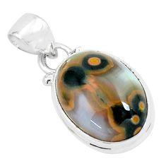 11.73cts natural multi color ocean sea jasper (madagascar) silver pendant p65652