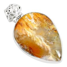 18.15cts natural multi color plume agate 925 sterling silver pendant p34105