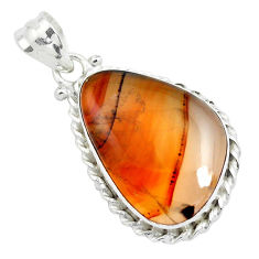 16.20cts natural multi color plume agate 925 sterling silver pendant p40581
