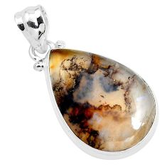 15.05cts natural multi color plume agate 925 sterling silver pendant p40594
