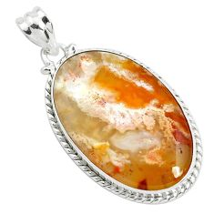 22.05cts natural multi color plume agate 925 sterling silver pendant p40597