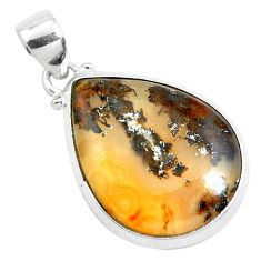 12.65cts natural multi color plume agate pear 925 sterling silver pendant p40586