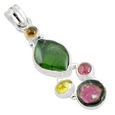 13.28cts natural multi color tourmaline 925 sterling silver pendant d31969