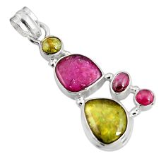 14.26cts natural multi color tourmaline 925 sterling silver pendant p92832