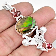 15.95cts natural multicolor ammolite 925 silver angel wings fairy pendant d30941