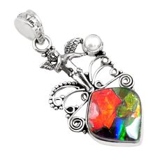 14.39cts natural multicolor ammolite 925 silver angel wings fairy pendant p47809
