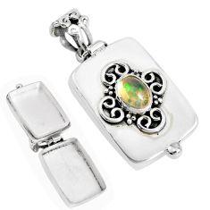 1.97cts natural multicolor ethiopian opal 925 silver poison box pendant p44923
