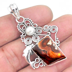 12.36cts natural multicolor mexican fire agate 925 silver dolphin pendant p53954