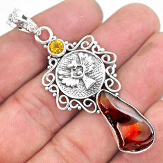 12.02cts natural multicolor mexican fire agate citrine 925 silver pendant p54014