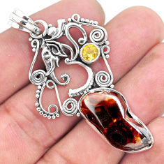 14.39cts natural multicolor mexican fire agate silver elephant pendant p53949